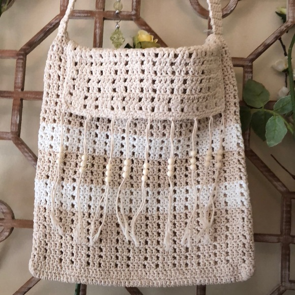 Bags Nwot Cream Crochet Messenger Bag Poshmark